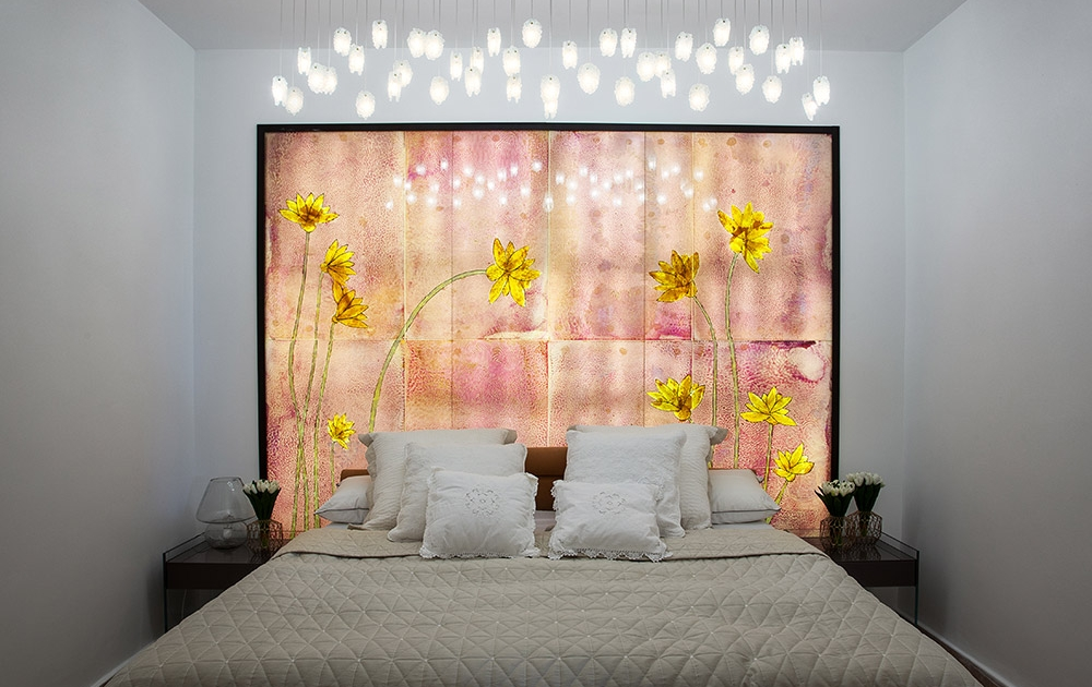 Original painting on fussed glass-bedroom decoration ideas