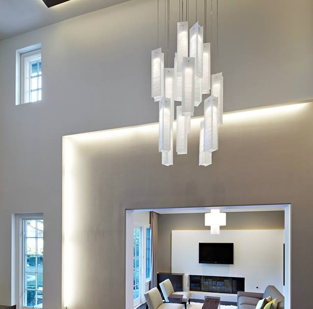 2 story living room chandelier