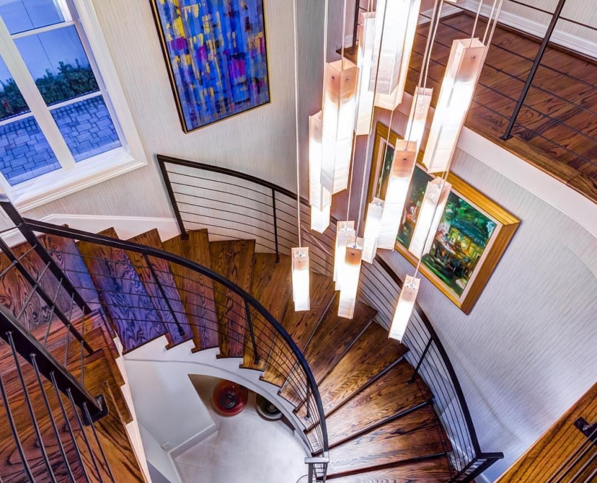 High ceiling staircase chandelier