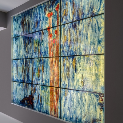 Unique wall art of glass and ligh
