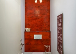 red hand made glass tiles
