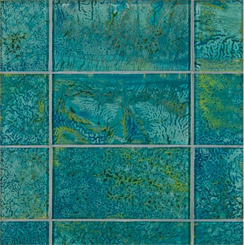 Blue hand made glass tiles