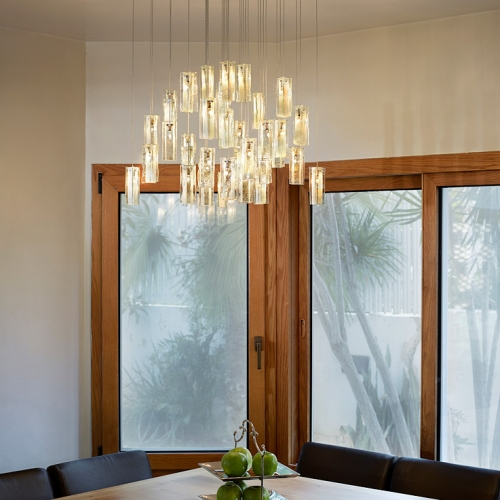 Stained glass chandelier lighting