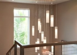 Stairway glass chandelier lighting