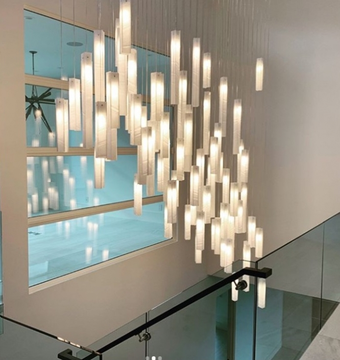 stairwell chandelier lighting candles