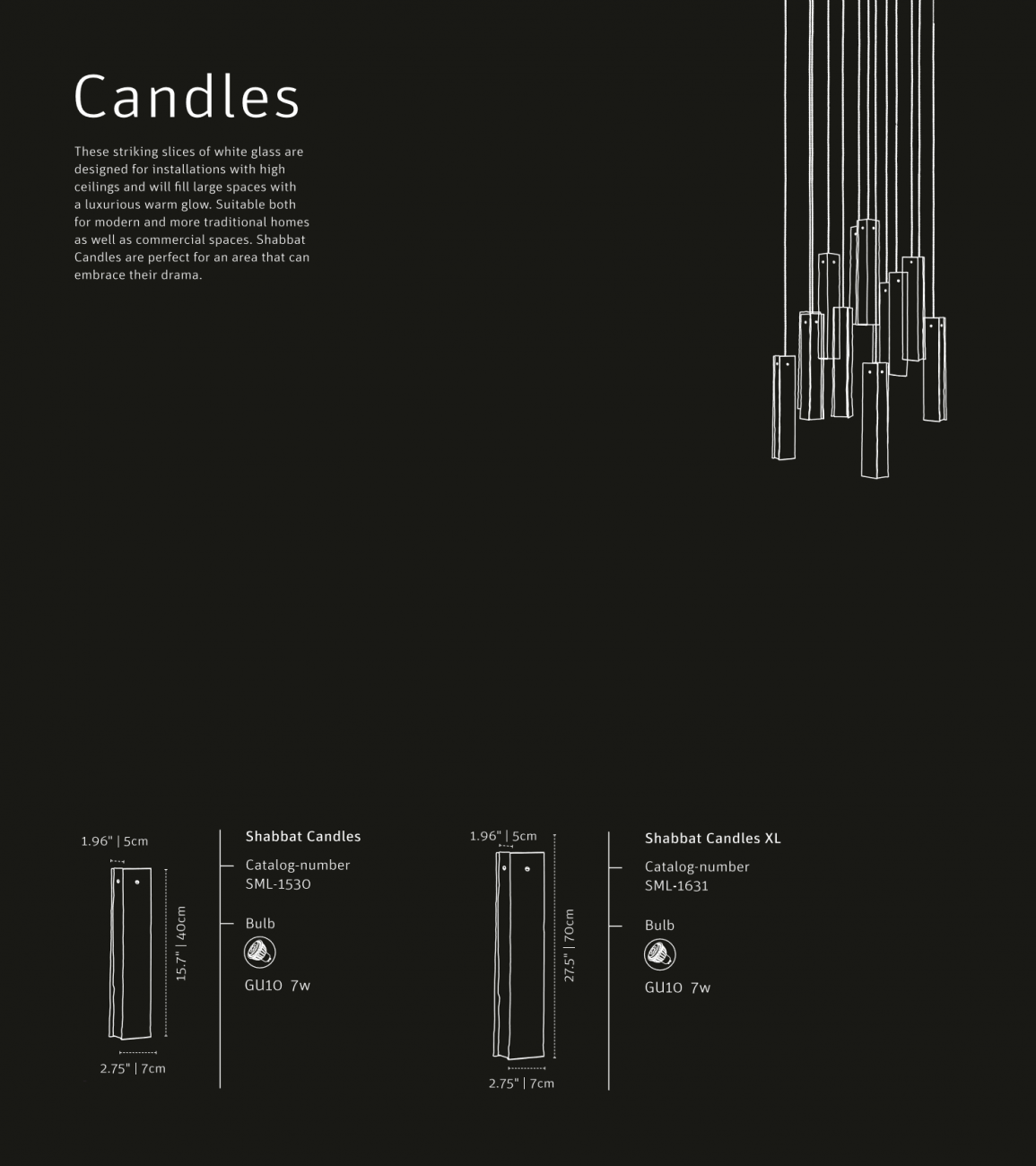 Hanging pendant Candles