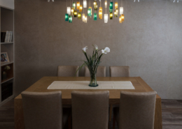 Chandelier lighting from dining tabl