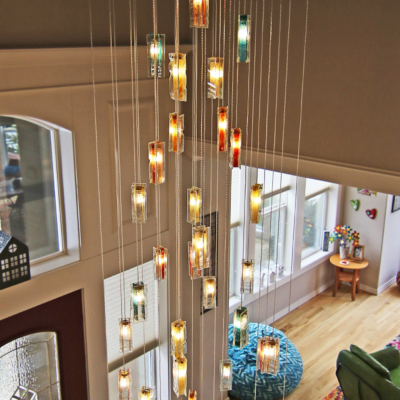 long drop stained glass chandelier