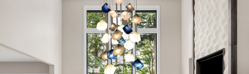 Large modern stained glass chandelier