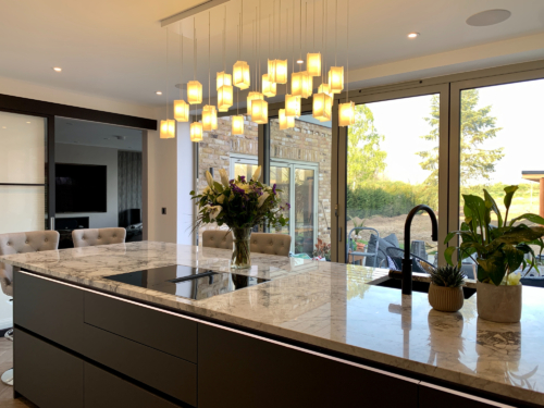 Ceiling light fixture for kitchen island